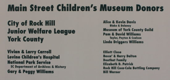 Main Street Children's Museum Donors
