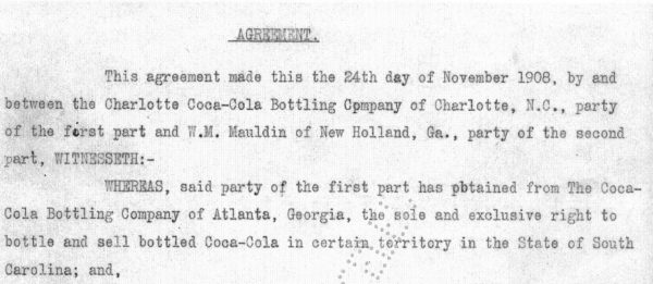 1908 Coca-Cola Bottling contract detail