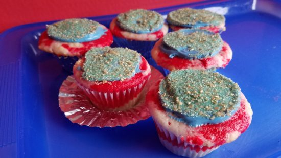 Team USA cupcakes made with Sprite